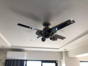 名古屋市千種区の集合住宅にてシーリングファンの取付電気工事